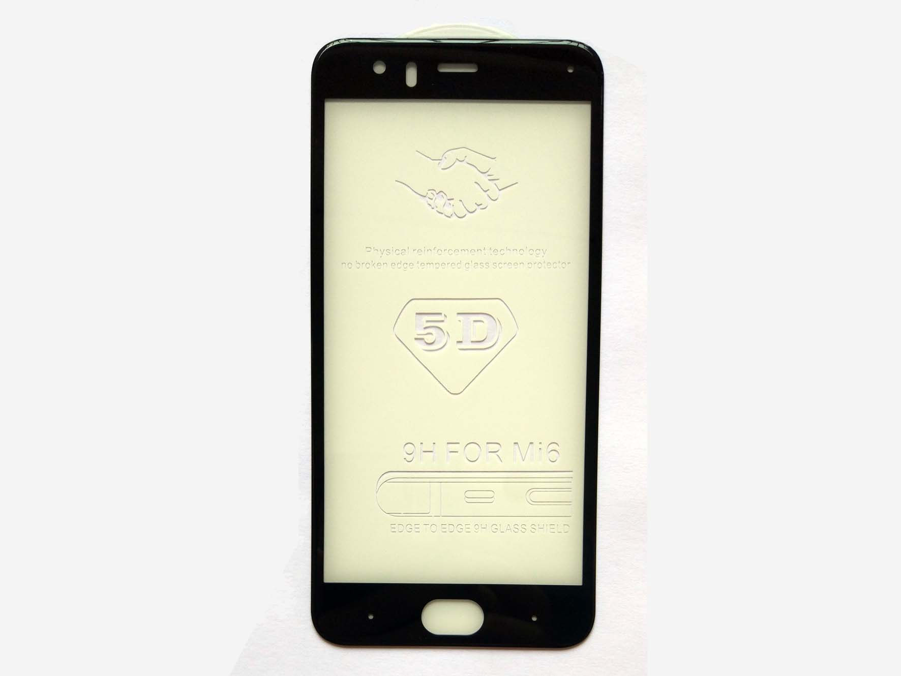 Full Covered 5D Curved Edge Tempered Glass protector for Xiaomi 6-Black & White