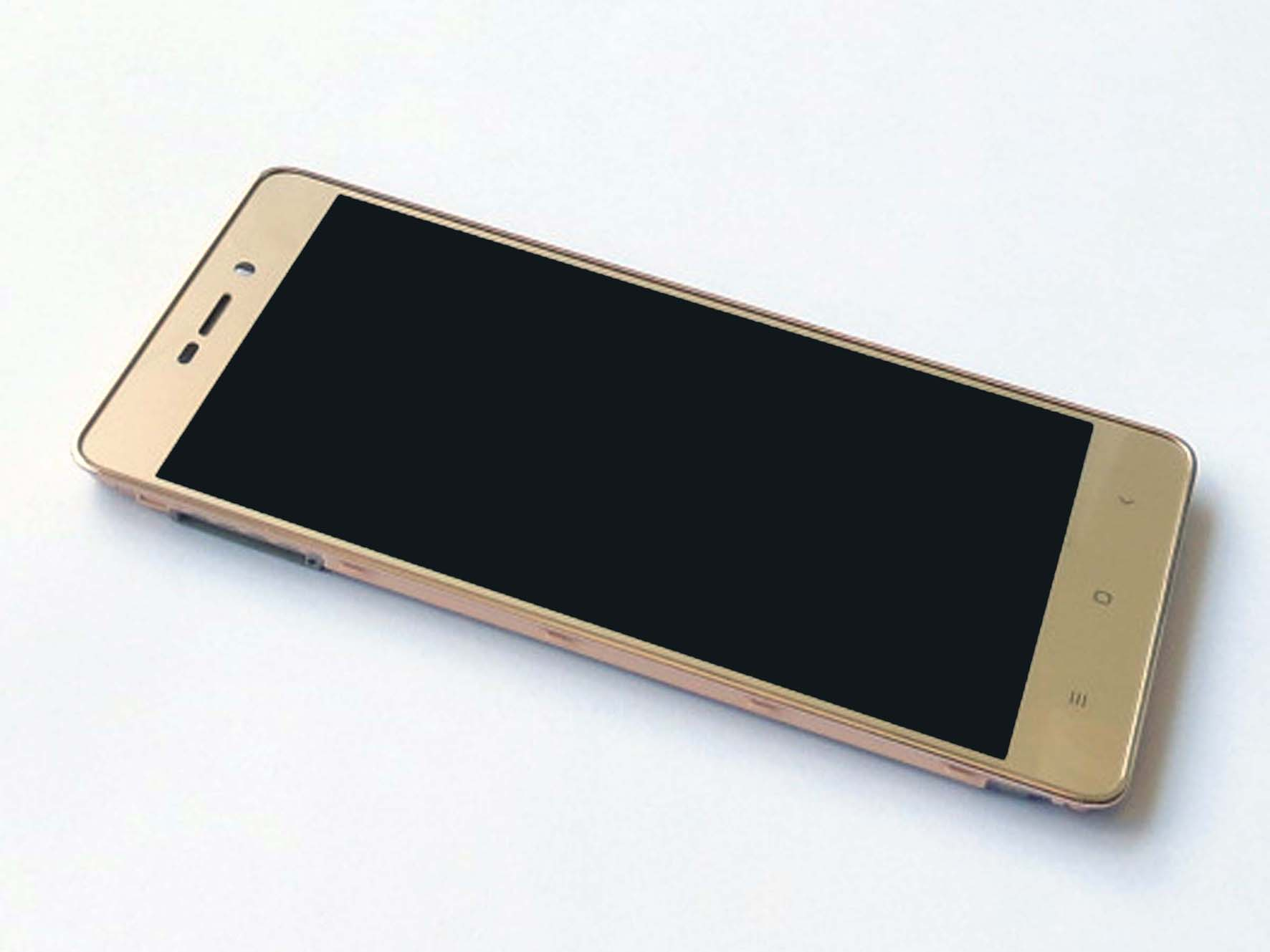 Original Complete screen with front housing for Redmi 3 -Gold