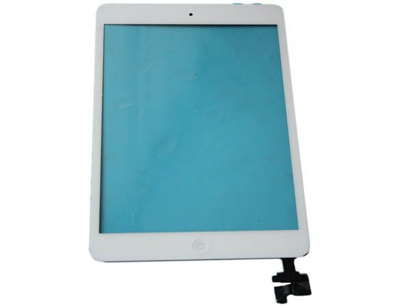 iPad mini digitizer touch screen with IC and home button assembly  - white