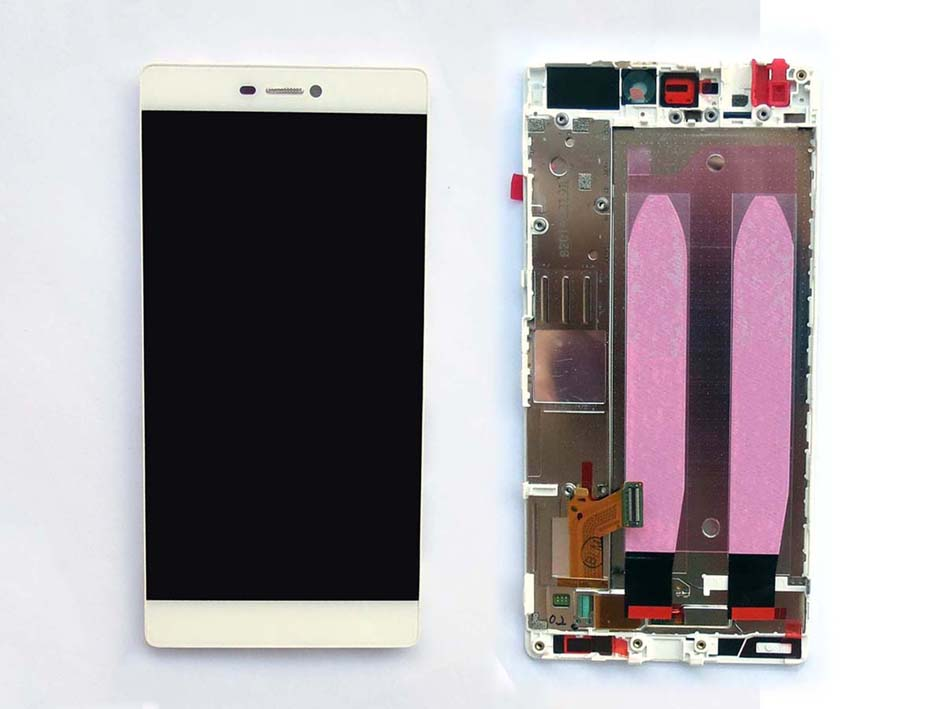 Original LCD Touch Screen Digitizer Assembly with frame for Huawei P8– White
