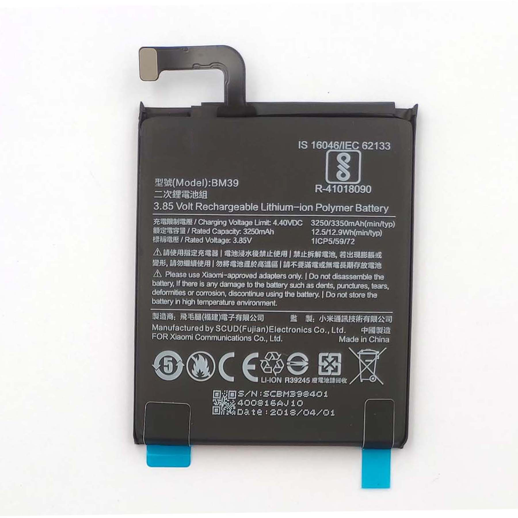 Original BM39 3250mAh Built-in Battery For Xiaomi 6 Mi6 (only Deliver to some countries)