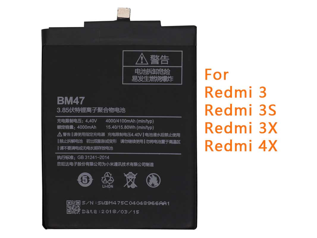 Original BM47 4000mAh Built-in Battery For Redmi 3 & 4X(only Deliver to some countries)